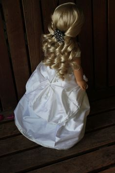 style white duponi silk ball gown and hair accessory for American girl dolls Ag Doll Hairstyles, American Girl Hairstyles, Cute Braided Hairstyles, Cool Hairstyles, Updo Hairstyle, Wedding Hairstyles, My American Girl Doll, American Girl Clothes, Hippie Braids
