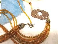 Long Asymmetrical Brass Gingko Leaves Necklace