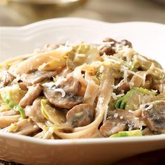 Our fall take on pasta primavera: Creamy Fettuccine with Brussels Sprouts & Mushrooms. Yes please! #DinnerTonight