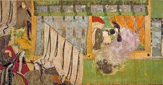 """Tale of Genji, detail, palace interior, ca 1100-1125. Attributed to Takayoshi. Tokugawa Museum, Nagoya. The Tale of Genji (源氏物語 Genji Monogatari?) is a classic work of Japanese literature written by the Japanese noblewoman and lady-in-waiting Murasaki Shikibu in the early years of the 11th century, around the peak of the Heian period. This scroll is the earliest extant example of a Japanese """"picture scroll"""": collected illustrations and calligraphy of a single work."""
