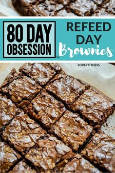 80 Day Obsession's Refeed day isn't a cheat day, BUT you can seriously have brownies for breakfast if you want! Get the recipe for Autumn-Approved 80 Day Obsession brownies! Fixate Recipes, Healthy Dessert Recipes, Healthy Baking, Healthy Treats, Healthy Foods, 21dayfix Recipes, Zone Recipes, Healthy Bars, Diet Foods