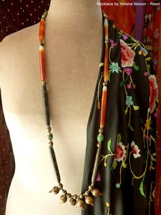 Indochine, elegant minimalist prayer amulets necklace, one of a kind