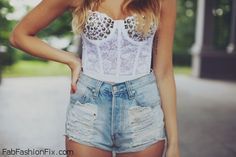 denim shorts and bustier top love