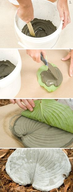 In a bucket or pail, mix two cups of cement with 1 cup of water to create a thick paste. spread the cement mixture onto each leaf. Allow the cement to dry then Flip the mold over, and remove each leaf.