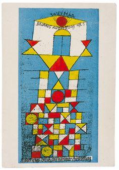 Paul Klee, bauhaus postcard, featuring the Weimar exhibition, 1923