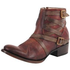 Freebird By Steve Madden Sammi (405518201) (270 NZD) ❤ liked on Polyvore featuring shoes, boots, ankle booties, brown, distressed leather boots, leather ankle boots, brown ankle boots, zip ankle boots and short brown boots