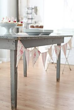 rustic farm table with banner flags