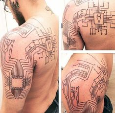60 Circuit Board Tattoo Designs for Men - Electronic Ink Ideas - ink tattoo manner electronic designs circuit board - Life Tattoos, Body Art Tattoos, New Tattoos, Tattoos For Guys, Skull Tattoos, Sleeve Tattoos, Tatoos, Dr Tattoo, Tech Tattoo
