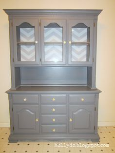 Gray hutch makeover with Chevron Stripes  By Holly Do. http://www.cuttingedgestencils.com/chevron-stencil-pattern.html