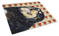 Tibetan Mastiff Fall Leaves Portrait Glass Cutting Board Large