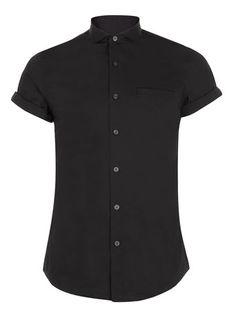 BLACK SHORT SLEEVE SMART SHIRT - Short Sleeve Shirts - Men's Shirts  - Clothing