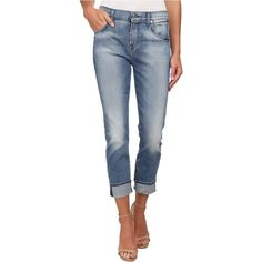 7 For All Mankind The Relaxed Skinny in Light Blue Hue Women's Jeans,... ($120) ❤ liked on Polyvore featuring jeans, blue, relaxed jeans, zipper skinny jeans, zipper jeans, skinny tapered jeans and shiny skinny jeans