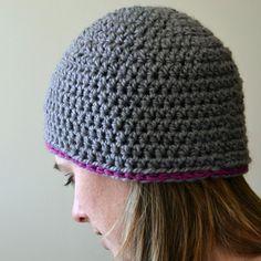 Cute beanie. No-knot finishing method for crochet explained at bottom.