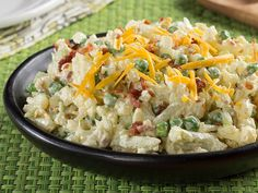 Cauliflower Salad: Low-fat yogurt and fat-free mayo make a creamy dressing to coat a medley of cauliflower, peas, onion, and celery. Throw in some other spices and top it off with bacon and cheddar cheese. You get all this for 60 calories, and did we mention it's low-carb?! Want an easy Easter recipe.. or anytime recipe :)