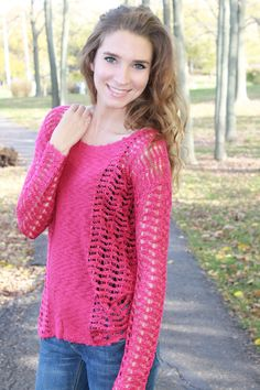 Magnolia Boutique Indianapolis - Ariel Sweater- Magenta, $36.00 (http://www.indiefashionboutique.com/ariel-sweater-magenta/)