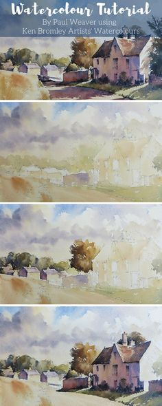 Paul Weaver paints, Village of Windrush a Cotswold village, nestling in the stunning landscape of the Windrush valley. #watercolour #watercolourtutorial #LandscapePaintings
