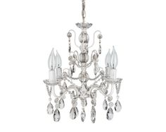 "4 (25 watt) candle, white & genuine glass crystal chandelier (13.5"" d X 14"" h) @ etsy $84.99"