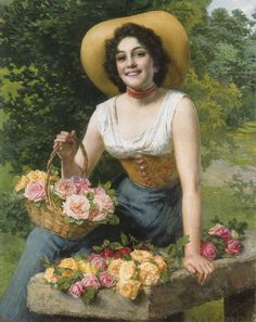 "Gaetano Bellei (Italian, 1857-1922), ""A Beauty Holding A Basket Of Roses"""