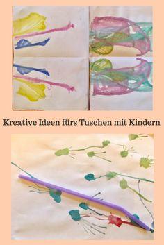 DIY für Kinder: Malen mit Wasserfarben, kreative Ideen für Tuschen mit verschiedene Materialien auch für Kinder unter 3.