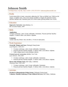 simple resume template download   http     resumecareer info    writing a resume   no work experience can be stressful  it    s easy to assume that