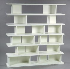 Rene Jean Caillette; Lacquered Molded Plywood Bookcase Prototype, 1965.
