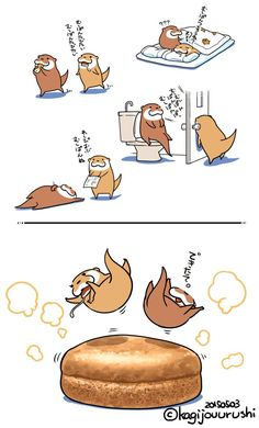 Otter Cartoon, Otter Love, Manga Drawing, Cute Characters, Food Illustrations, Cute Illustration, Girl Humor, Otters, Doodle Art