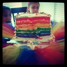 My actual rainbow cake afer we cut into it.