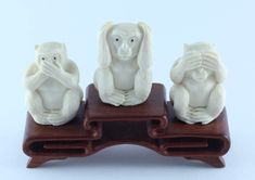 Три обезьяны из бивня мамонта - Самбики но сару - купить в Jap-Art.ru, цена, фото, значение Wise Monkeys, Lion Sculpture, Statue, Three Wise Monkeys, Sculpture, Sculptures