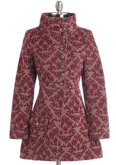 Beauty Is a Breeze Coat - Long, Red, Print, Buttons, Pockets, Party, Long Sleeve, Fall, Winter, Woven, Better, Red, 3