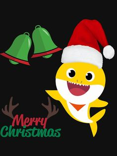 """""""Baby Shark Merry Christmas (Santa Claus Hat) - Christmas Bells Themed Party Gift Ideas"""" T-shirt by MonDesigns Baby Shark Christmas, Christmas Rock, Merry Christmas Santa, Baby Christmas Gifts, Christmas Clipart, Christmas Bells, Christmas Stuff, Christmas Ornaments, Baby Swing Set"""