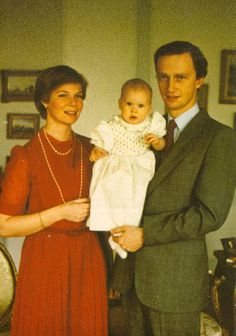 Archduchess Marie Astrid of Austria, nee Princess of Luxembourg, with husband Archduke Carl Christian and their first child, Archduchess Marie Christine.