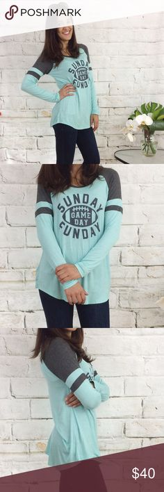 Blue Sunday Funday Top Closet fav! Cute and comfy, long top. Light blue and gray coloring. Looks great with a few of the leggings and jeans for sale in my closet. Great for football season! 95% Rayon, 5% Spandex.  ❤️Please see size chart for measurements                                                   ❤️I am 5'3, size 2 and am wearing the S.  ❤️Items ship M-F. Next day shipping for purchases at price/bundle price listed ❤️This item is available hangar27 Tops Tees - Long Sleeve