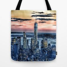 New York Tote Bag 13x13 16x16 18x18 Skyline Tote City by MGMart