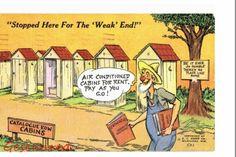 Outhouse Cabins for Rent Hillbilly Comic Humor Postcard Fairview OK Sedalia MO | eBay
