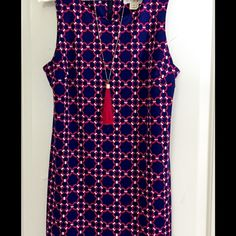 JB by Julie Brown shift dress never worn Navy and pink link pattern. This dress ran small and is closer to a large. I planned to get it altered and then found another dress for event so it was never worn. Julie Brown  Dresses Midi