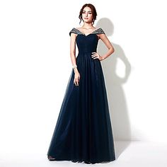 Formal Evening Dress - Dark Navy Plus Sizes / Petite A-line Floor-length – USD $ 109.99