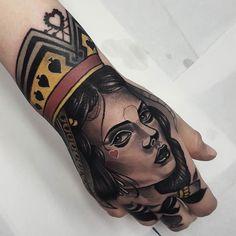 Poker Queen by @barroscastrotats at @wanted_tattoo_studio in Barcelona Spain. #poker #queen #pokerqueen #queenofhearts #hearts #barroscastrotats #wantedtattoo #barcelona #spain #tattoo #tattoos #tattoosnob