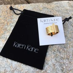 Elegantly Casual Gold Tone Ring by Karen Kane Love the bold, simple design of this ring, size 7, by designer Karen Kane. New with tags and a branded velvet bag. Retail price $58. Karen Kane Jewelry Rings