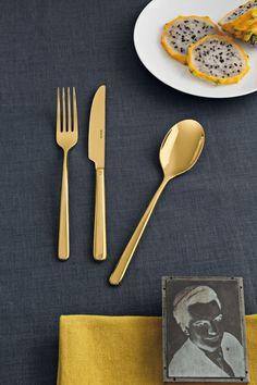 Sambonet Linea 24-delige bestekset - goud?   Woldring Fork, Tableware, Kitchen, Fruit, Products, Stainless Steel, Forks, Knives, Dinnerware