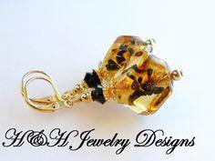24KT Gold Foil Venetian Glass Earrings, Italian Glass Animal Print Earrings, Black and Gold Dangle Earrings, Venetian Glass Bead Earrings by hhjewelrydesigns on Etsy