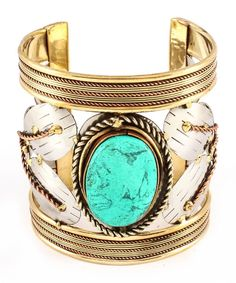 Turquoise Stone Antique Cuff Bracelet by Just Jeweled Jewelry & Accessories