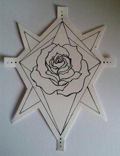 Geometric Rose Hand Drawn Temporary Tattoo by ashinetoit on Etsy, £5.00