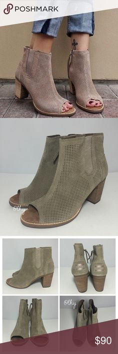 "TOMS PERFORATED MAJORCA BOOTIES – SZ8.5 AUTHENTIC TOMS Majorca Booties in ""stucco"" color. Perforated suede exterior. Approx 2.8"" stacked heel height. Peep Toe. Elastic side panel with interior side zip closure. Box not included. Please be familiar with sizing of TOMS footwear. ❌❌NO TRADES NO PP NO EXCEPTIONS❌❌ TOMS Shoes Ankle Boots & Booties"