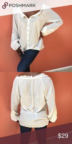 5dde19e63f350 Elie Tahari cotton pheasant top Elle Tahari cotton pheasant top. Gathering  in back. Ruffled