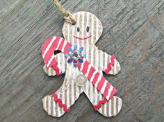 Gingerbread Christmas Gift Tags Set of 6 Holiday by EarthChildArt