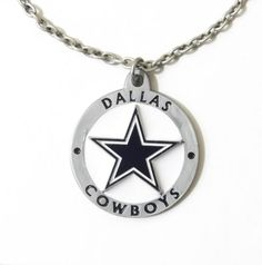 Dallas cowboys nfl football sport round glass silver by elorra123 dallas cowboys large pendant necklace 22208a football sports jewelry aloadofball