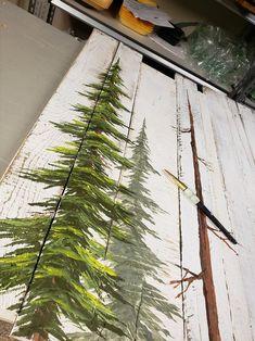 Easy Christmas Crafts, Christmas Art, Simple Christmas, Coastal Christmas, Pine Tree Painting, Painting On Wood, Tole Painting, Shiny Brite Ornaments, Xmas Ornaments
