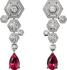 CARTIER. Earrings - White gold, two pear-shaped spinels totalling 7.51 carats, brilliant-cut diamonds. #Cartier #CartierMagicien #HauteJoaillerie #FineJewelry #Spinel #Diamond