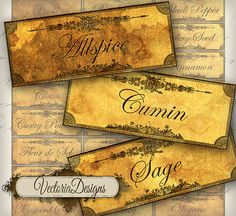 INSTANT DOWNLOAD Grunge Spice and Herbs Labels by VectoriaDesigns, $3.20
