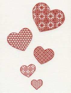 Blackwork Scarletwork Embroidery Kit - Lovehearts